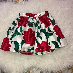 GYMBOREE White Red Flowers Print Party Skirt Sz 4